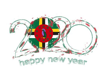 Happy New 2020 Year with flag of Dominica. Holiday grunge vector illustration.