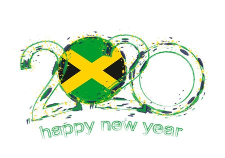 Happy New 2020 Year with flag of Jamaica. Holiday grunge vector illustration.
