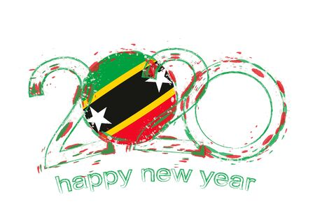 Happy New 2020 Year with flag of Saint Kitts and Nevis. Holiday grunge vector illustration.