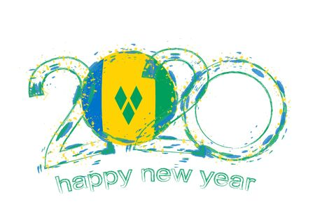 Happy New 2020 Year with flag of Saint Vincent and the Grenadines. Holiday grunge vector illustration. Ilustração