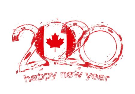 Happy New 2020 Year with flag of Canada. Holiday grunge vector illustration.