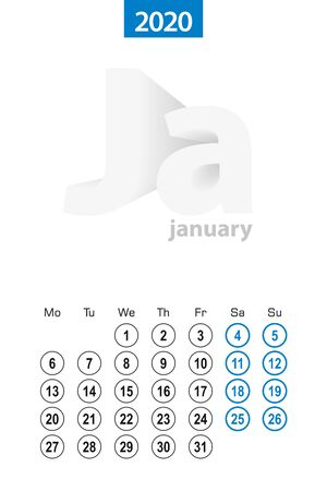 Calendar for January 2020, blue circle design. English language, week starts on Monday. Vector template.