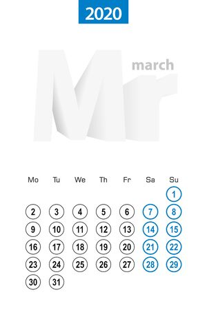 Calendar for March 2020, blue circle design. English language, week starts on Monday. Vector template. Ilustração