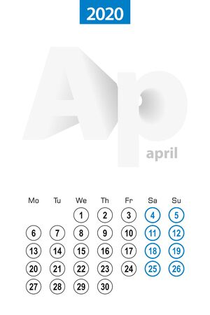 Calendar for April 2020, blue circle design. English language, week starts on Monday. Vector template.