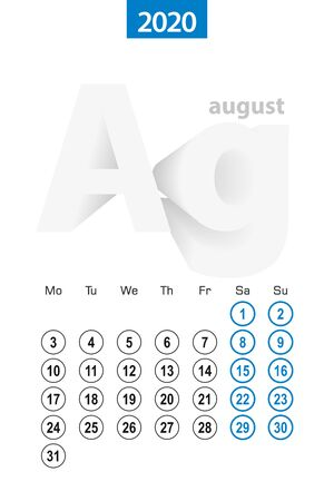 Calendar for August 2020, blue circle design. English language, week starts on Monday. Vector template.