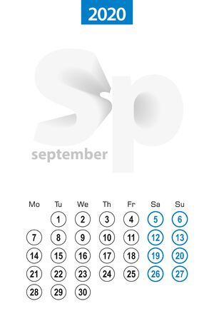 Calendar for September 2020, blue circle design. English language, week starts on Monday. Vector template.