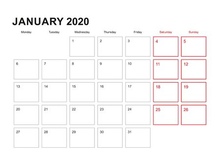 Wall planner for January 2020 in English language, week starts in Monday. Vector calendar 2020. Ilustração