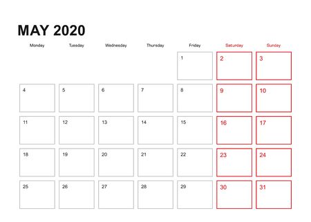 Wall planner for May 2020 in English language, week starts in Monday. Vector calendar 2020.