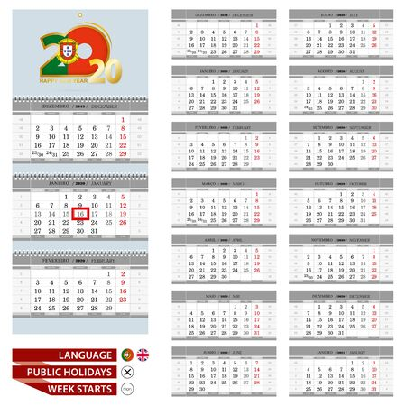 Portuguese Wall calendar planner vector template for 2020 year. Portuguese and English language. Week starts from Monday.