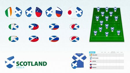 Set for Scotland rugby team. Rugby vector collection. Ilustração