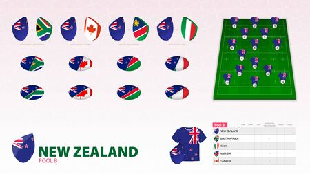 Set for New Zealand rugby team. Rugby vector collection.