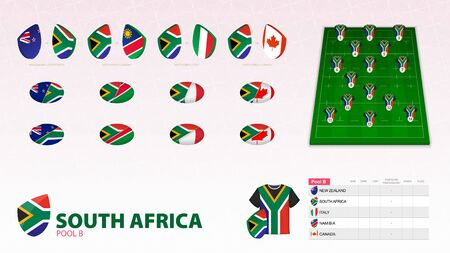 Set for South Africa rugby team. Rugby vector collection.