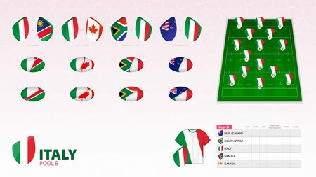 Set for Italy rugby team. Rugby vector collection. Ilustração