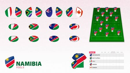 Set for Namibia rugby team. Rugby vector collection.
