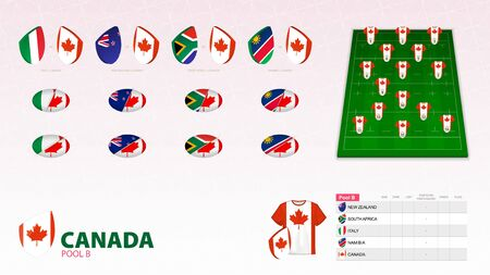 Set for Canada rugby team. Rugby vector collection.