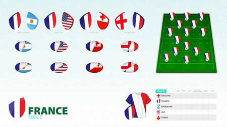 Set for France rugby team. Rugby vector collection.