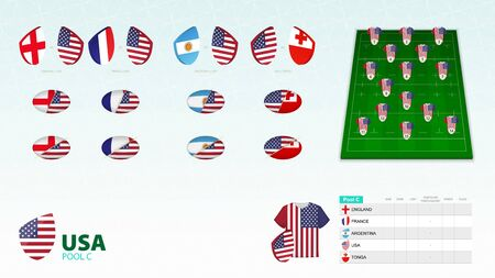 Set for United States rugby team. Rugby vector collection.