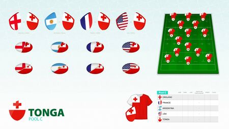 Set for Tonga rugby team. Rugby vector collection.