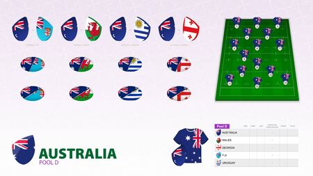 Set for Australia rugby team. Rugby vector collection.