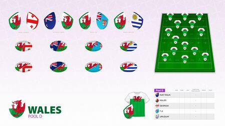 Set for Wales rugby team. Rugby vector collection.