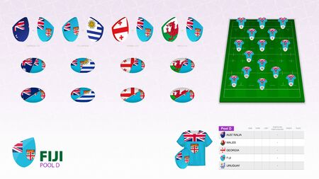 Set for Fiji rugby team. Rugby vector collection. Ilustração