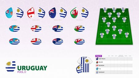 Set for Uruguay rugby team. Rugby vector collection. Ilustração