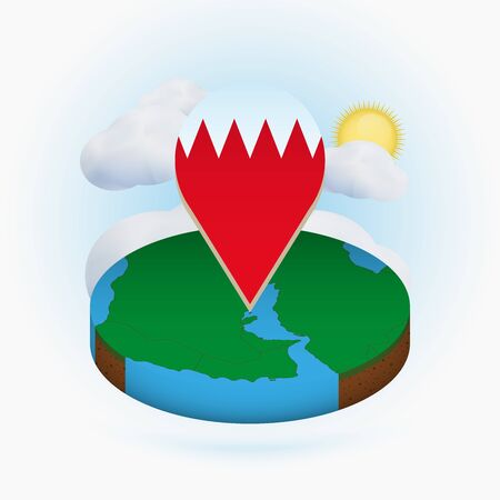 Isometric round map of Bahrain and point marker with flag of Bahrain. Cloud and sun on background. Isometric vector illustration. Ilustração