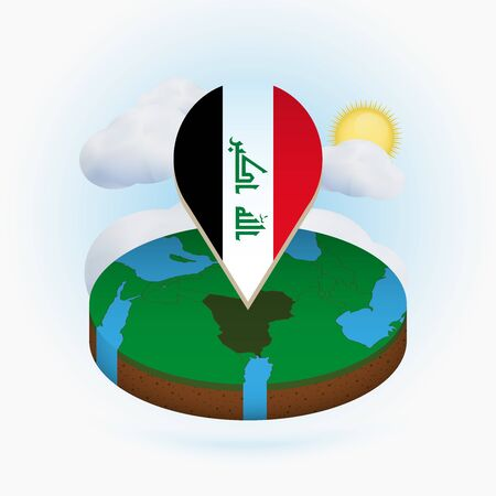 Isometric round map of Iraq and point marker with flag of Iraq. Cloud and sun on background. Isometric vector illustration.