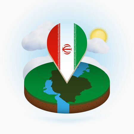 Isometric round map of Iran and point marker with flag of Iran. Cloud and sun on background. Isometric vector illustration.