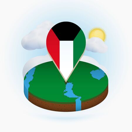 Isometric round map of Kuwait and point marker with flag of Kuwait. Cloud and sun on background. Isometric vector illustration. Ilustração
