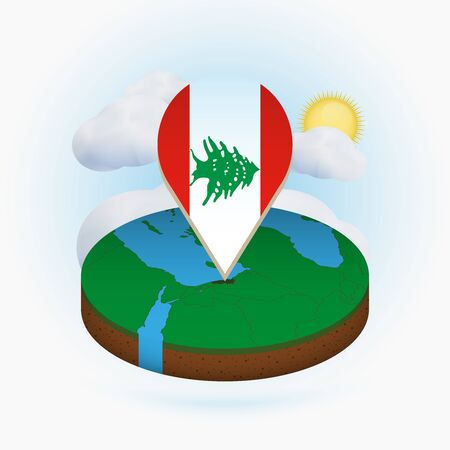 Isometric round map of Lebanon and point marker with flag of Lebanon. Cloud and sun on background. Isometric vector illustration. Ilustração