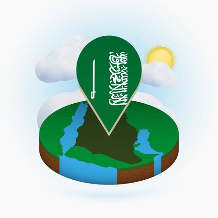 Isometric round map of Saudi Arabia and point marker with flag of Saudi Arabia. Cloud and sun on background. Isometric vector illustration. Ilustração
