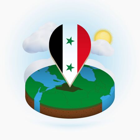 Isometric round map of Syria and point marker with flag of Syria. Cloud and sun on background. Isometric vector illustration. Ilustração