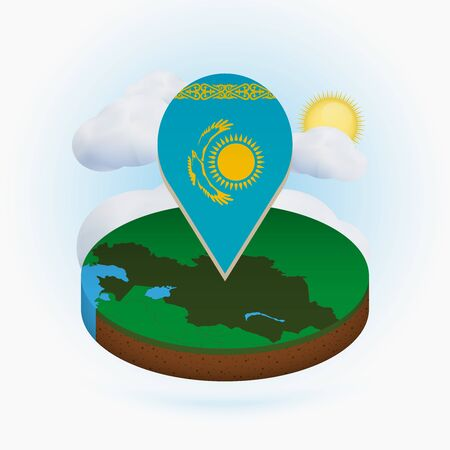 Isometric round map of Kazakhstan and point marker with flag of Kazakhstan. Cloud and sun on background. Isometric vector illustration.