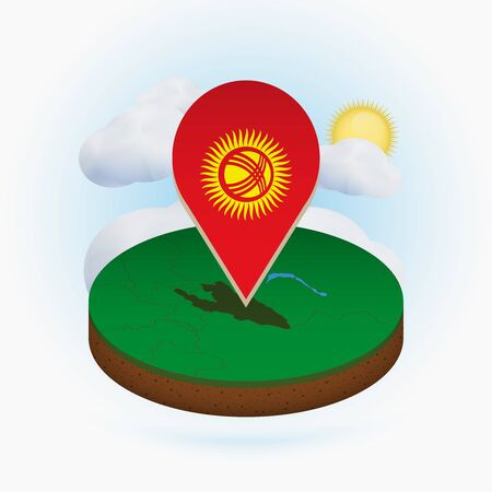 Isometric round map of Kyrgyzstan and point marker with flag of Kyrgyzstan. Cloud and sun on background. Isometric vector illustration.