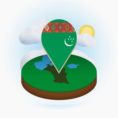 Isometric round map of Turkmenistan and point marker with flag of Turkmenistan. Cloud and sun on background. Isometric vector illustration. Ilustração