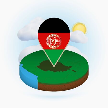 Isometric round map of Afghanistan and point marker with flag of Afghanistan. Cloud and sun on background. Isometric vector illustration.