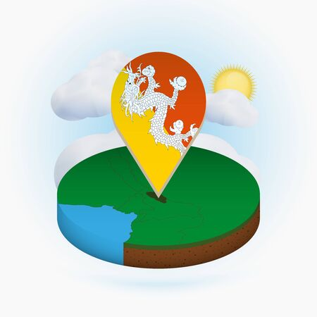 Isometric round map of Bhutan and point marker with flag of Bhutan. Cloud and sun on background. Isometric vector illustration.