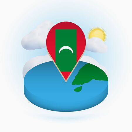 Isometric round map of Maldives and point marker with flag of Maldives. Cloud and sun on background. Isometric vector illustration. Ilustração