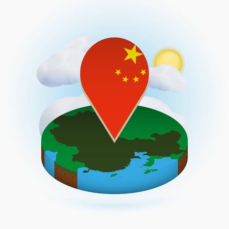 Isometric round map of China and point marker with flag of China. Cloud and sun on background. Isometric vector illustration. Ilustração