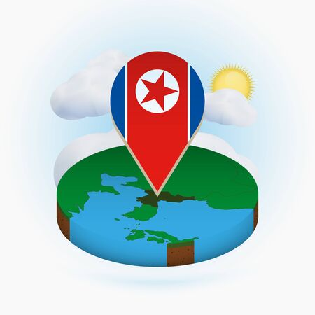 Isometric round map of North Korea and point marker with flag of North Korea. Cloud and sun on background. Isometric vector illustration. Ilustração