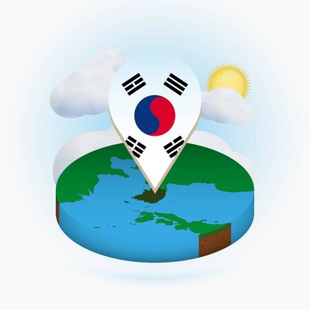 Isometric round map of South Korea and point marker with flag of South Korea. Cloud and sun on background. Isometric vector illustration.