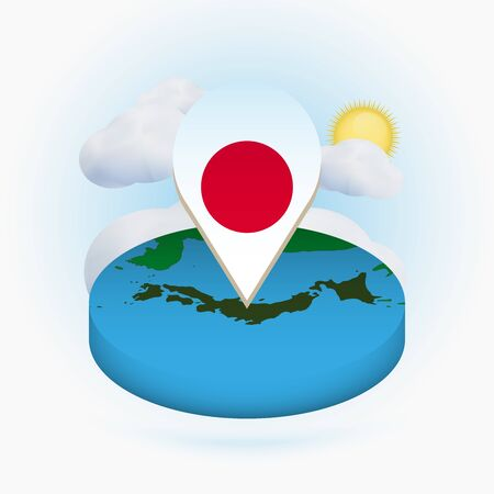 Isometric round map of Japan and point marker with flag of Japan. Cloud and sun on background. Isometric vector illustration.