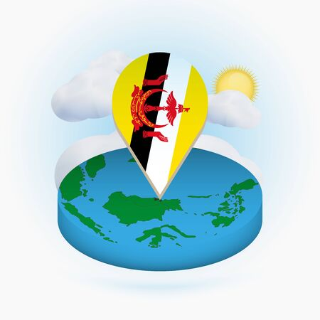 Isometric round map of Brunei and point marker with flag of Brunei. Cloud and sun on background. Isometric vector illustration.