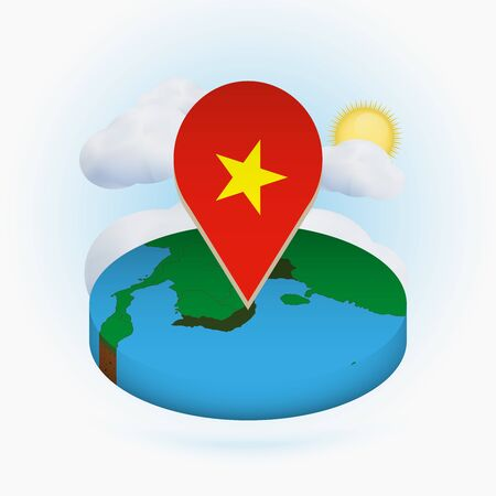 Isometric round map of Vietnam and point marker with flag of Vietnam. Cloud and sun on background. Isometric vector illustration.