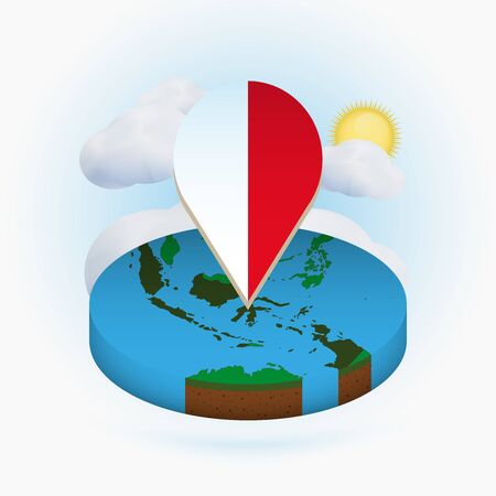 Isometric round map of Indonesia and point marker with flag of Indonesia. Cloud and sun on background. Isometric vector illustration.