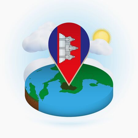 Isometric round map of Cambodia and point marker with flag of Cambodia. Cloud and sun on background. Isometric vector illustration. Ilustração