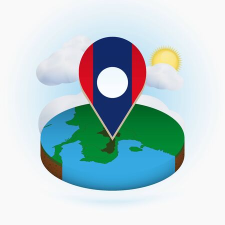 Isometric round map of Laos and point marker with flag of Laos. Cloud and sun on background. Isometric vector illustration.