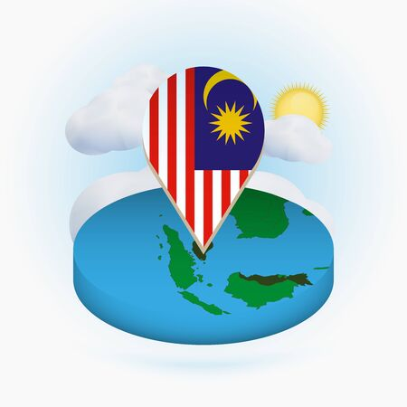 Isometric round map of Malaysia and point marker with flag of Malaysia. Cloud and sun on background. Isometric vector illustration.