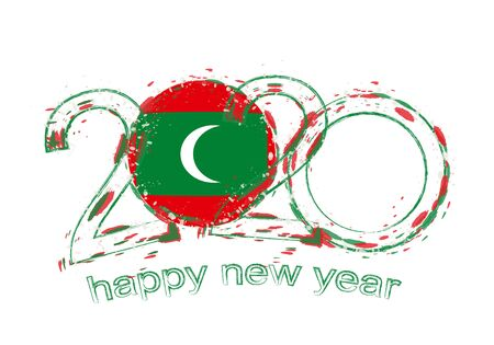 Happy New 2020 Year with flag of Maldives. Holiday grunge vector illustration.